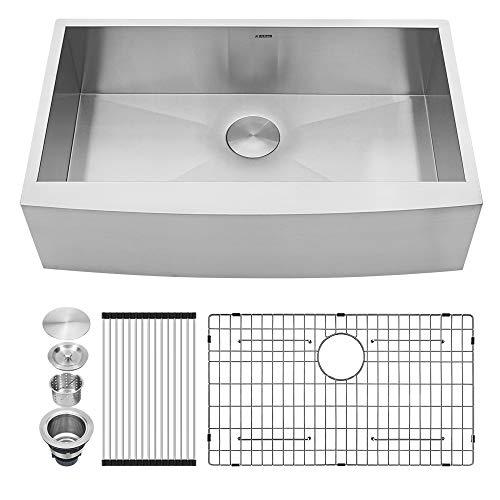Kichae 33 Inch Farmhouse Apron Deep Single Bowl 18 Gauge Stainless Steel Kitchen Sink