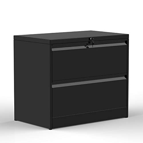 ModernLuxe File Cabinet, Black Lockable Heavy Duty Metal Lateral File Cabinet with 2 Drawers