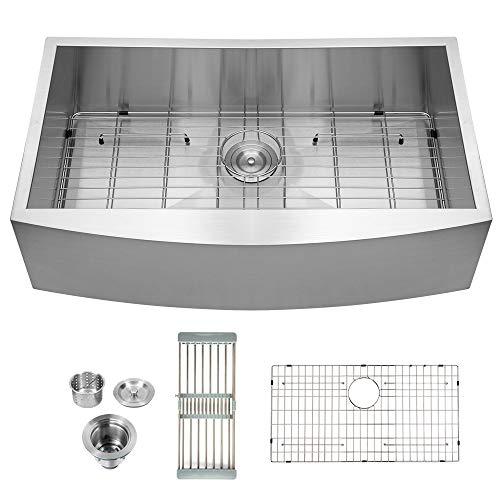Logmey LMA3020 Luxury 30 Inch Farmhouse Apron Deep Single Bowl 18 Gauge Stainless Steel Kitchen Sink