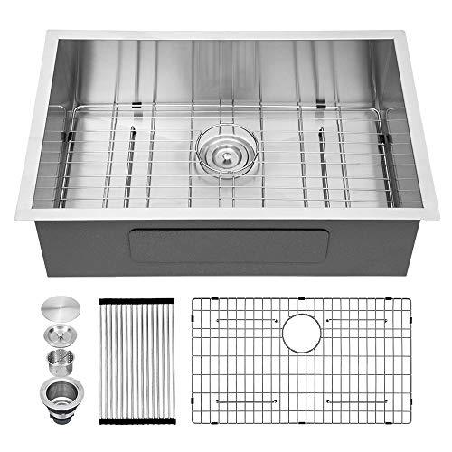 Kichae 28 Inch Undermount Single Bowl 18 Gauge Stainless Steel Kitchen Sink