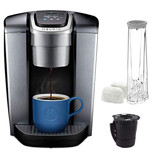 Keurig C K-Elite Maker, Single Serve K-Cup Pod Brewer, with Iced Coffee Capability, Extra Included, 75oz, Brushed Silver Plus Filter Bundle