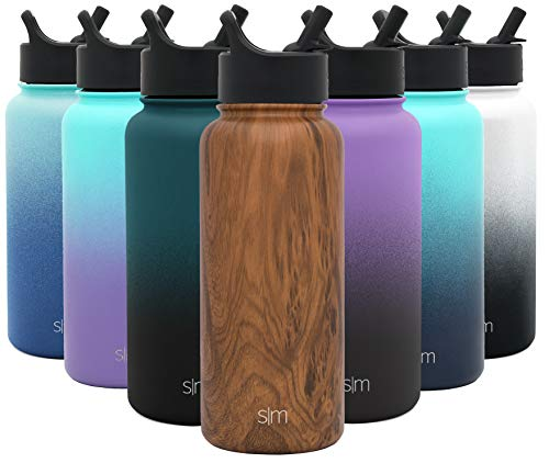 18/8 Stainless Steel Pattern: Wood Grain - Gifts for Men & Women Hydro Vacuum Insulated Tumbler Flask Double Wall Liter - Simple Modern 32 oz Summit Water Bottle with Straw Lid