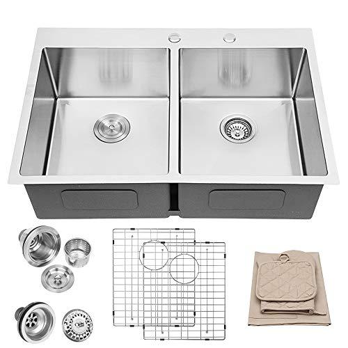 Lordear 33 x 22 Inch Drop-in Sink Topmount 50/50 Double Bowl 16 Gauge R10 Tight Radius Stainless Steel Kitchen Sink