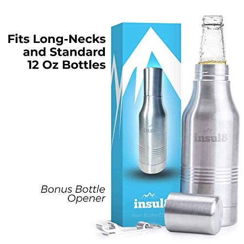 The Original Insul8 Beer Bottle Cooler   Double Wall Insulated Beer Bottle Holder Stainless Steel Fits 12 oz. Standard and Long-Neck Bottles   Bonus Bottle Opener Keyring and Gift Box
