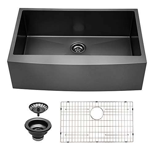 Sarlai 33 inch Matte Black Farmhouse Sink Apron Front Deep Single Bowl 16 gauge Stainless Steel Kitchen Sink