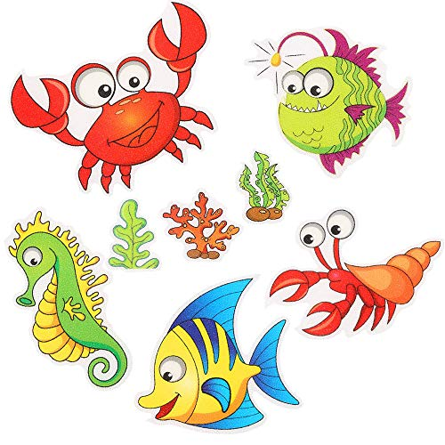 UCOFFEE Kids Non-Slip Bathtub Shower Stickers, 9 Pcs Large Sea Creature Adhesive Kids Anti Slip Decal Treads for Bath Tub/Showers/Pools/Bathrooms