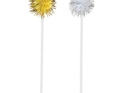 Silver & Gold Pom Pom Toothpicks, 8ct