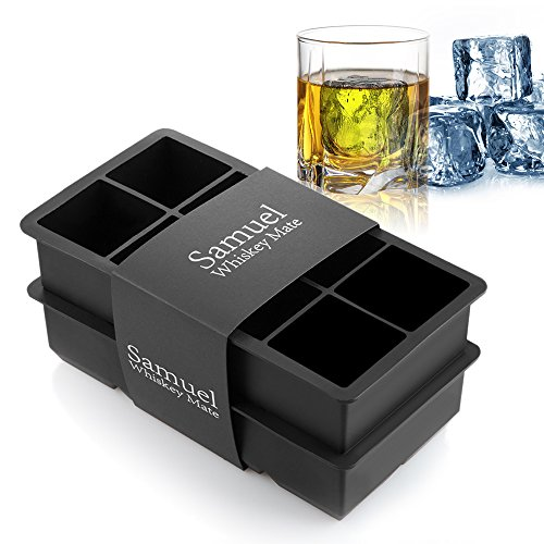 Samuelworld Ice Cube Tray Large Size Silicone Flexible 8 Cavity Ice Maker for Whiskey and Cocktails, Keep Drinks Chilled 2pc/Pack