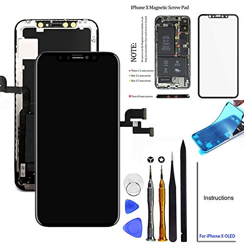 for iPhone X Screen Replacement OLED 5.8 inch NOT LCD Touch Screen Display Digitizer Repair Kit Assembly with Complete Repair Tools and Screen Protector