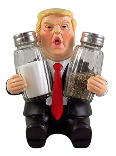 President Donald Trump Salt and Pepper Shaker Holder 6 Inch Shakers Included