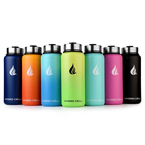 Keeps Liquids Perfectly Hot or Cold with Double Wall Vacuum Insulated Sweat Proof Sport Design Navy Blue 32oz - HYDRO CELL Stainless Steel Water Bottle with Straw & Wide Mouth Lids 32oz