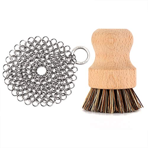 GAINWELL Stainless Steel Chainmail Scrubber Set Cast Iron Cleaner 4in with Wood Scrub Cleaning Brushes
