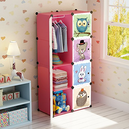 MAGINELS Portable Kid Organizers and Cute Baby Storage Organizer Clothes Wardrobe Cube Closet MultiFuncation Bedroom Armoire Children Dresser Rack Forest Animal Pink 6 Cube &1 Hanging Section