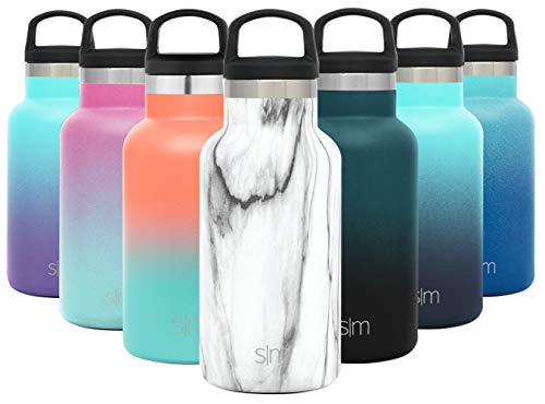 Stainless Steel Kids Hydro w/Handle Lid - Simple Modern 12oz Ascent Water Bottle - Double Wall Tumbler Flask Vacuum Insulated Small Reusable Metal Leakproof Pattern: Carrara Marble