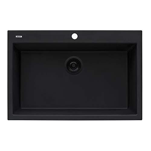 RVG1080BK - Midnight Black - Ruvati 33 x 22 inch epiGranite Dual-Mount Granite Composite Single Bowl Kitchen Sink