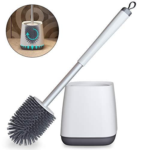 White - MAJALiS Toilet Brush and Holder, Modern Bathroom Silicone Toilet Bowl Brush and Holder