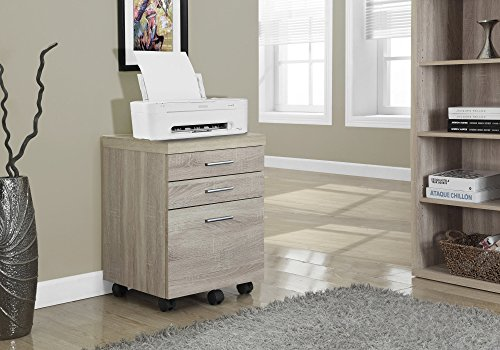 Monarch Specialties 3 Drawer File Cabinet - Filing Cabinet Natural