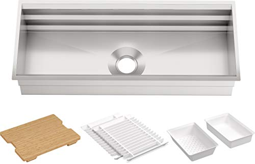 KOHLER Prolific 44 inch Extra Large Workstation Stainless Steel Single Bowl Kitchen Sink with included Accessories, 10 inches deep, 18 gauge, Undermount installation K-23652-NA