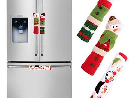 OurWarm Christmas Fridge Handle Covers Set of 3, Santa Snowman Fridge Door Handle Cover Kitchen Appliance Handle Covers for Christmas Decorations