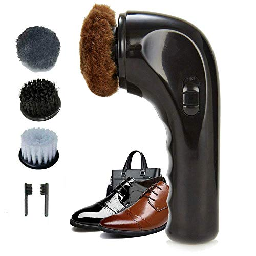 Electric Shoe Shine Kit, Hitti Electric Shoe Polisher Brush Shoe Shiner Dust Cleaner Portable Wireless Leather Care Kit for Shoes, Bags, Sofa Black