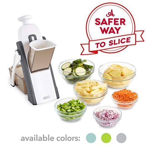 DASH Safe Slice Mandoline Slicer, Julienne + Dicer for Vegetables, Meal Prep & More with 30+ Presets & Thickness Adjuster, Grey, Adjustable Size
