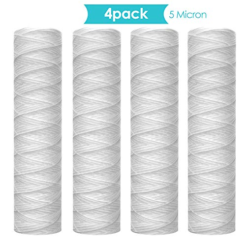"""Membrane Solutions 5 Micron 10""""x2.5"""" String Wound Sediment Water Filter Cartridge,Whole House Sediment Filtration, Replacement for 10 inch RO Unit"""