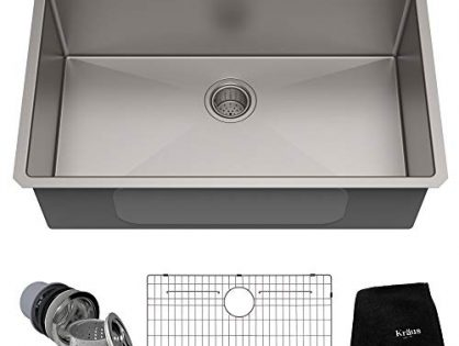 Kraus Standart PRO 32-inch 16 Gauge Undermount Single Bowl Stainless Steel Kitchen Sink, KHU100-32 Renewed