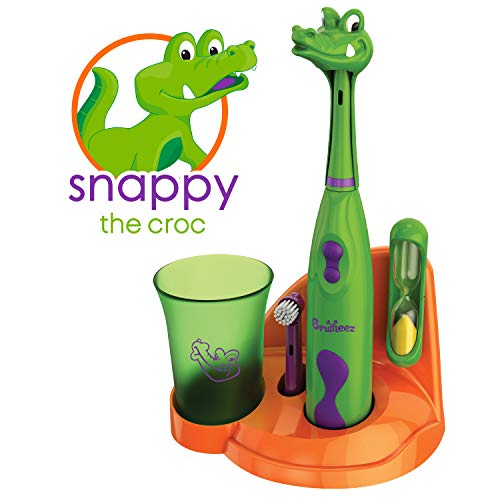 Snappy the Croc - Brusheez Kid's Electric Toothbrush Set Safari Edition - Includes Battery-Powered Toothbrush, 2 Brush Heads, Cute Animal Cover, Sand Timer, Rinse Cup & Storage Base