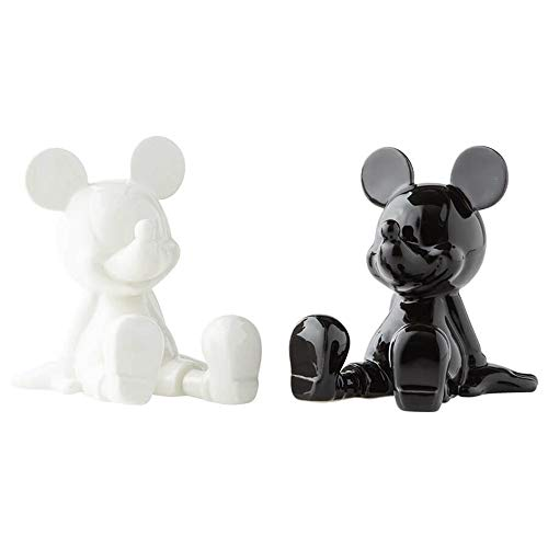 Enesco 6003748 Disney Ceramics Mickey Mouse Sitting Salt and Pepper Shakers, 3.5 Inch, Black and White