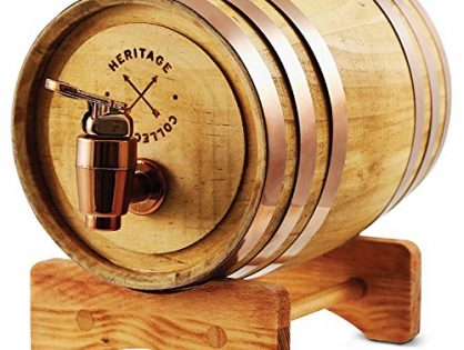 REFINERY AND CO Miniature Wood Whiskey Barrel Dispenser 800 ml/27 fl oz Volume, for Serving and Entertaining, Table Home Accent Display & Storage of Spirits, Liquors Standard version