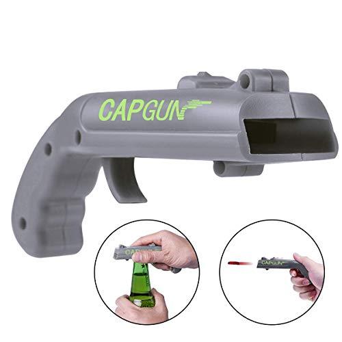 LXSLFY Cap Gun Launcher Bottle Opener, Plastic Beer Opener Cover Launcher Shooting Game,For family bar party drinking gamesgray