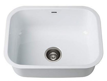 KRAUS KEU-12WHITE Pintura 16 Gauge Undermount Single Bowl Enameled Stainless Steel Kitchen Sink, 23-inch, White