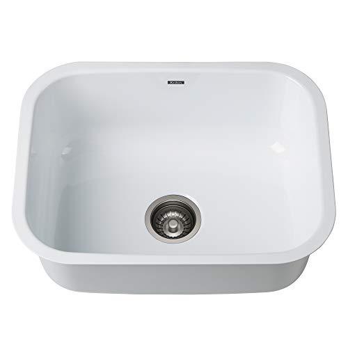 KRAUS KEU-12WHITE Pintura 16 Gauge Undermount Single Bowl Enameled Stainless Steel Kitchen Sink, 23-inch, White