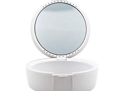 LSME Retainer Case with Vent Holes, Denture Case with Lid and Mirror White for Travel