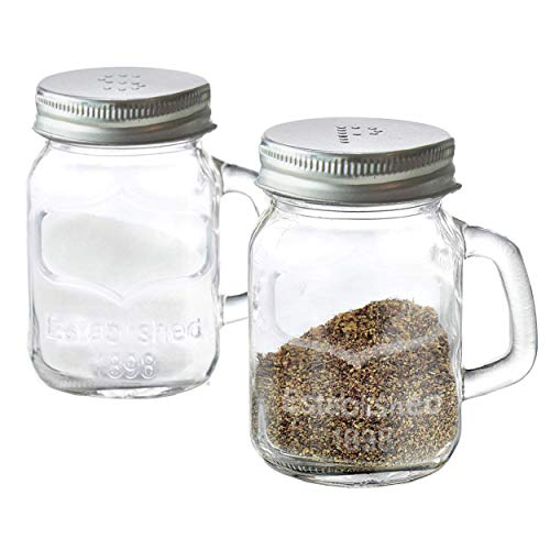 Mini Mason Salt and Pepper Shaker Set with Handles Clear Glass, Set of 2