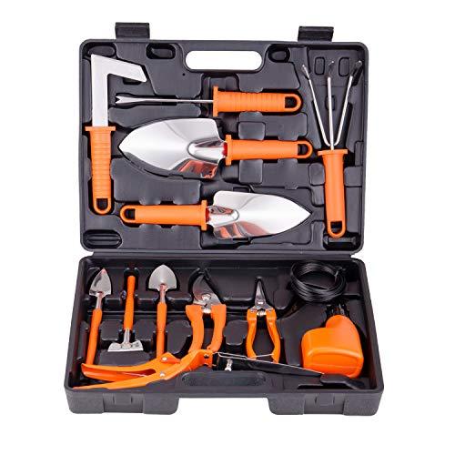 xderlin Garden Tools Set,14 Piece Gardening Gifts Stainless Stee Garden Tool Set with Storage case -Garden Gifts for Men & Women14 Pieces-Orange