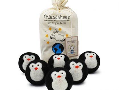 Black Penguin - Friendsheep Organic Eco Wool Dryer Balls - Handmade, Fair Trade, No Lint - Cool Friends Pack of 6