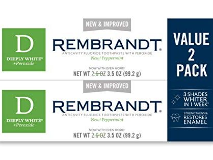 Rembrandt Deeply White + Peroxide Whitening Toothpaste, Peppermint Flavor, 3.5-Ounce 2 Pack