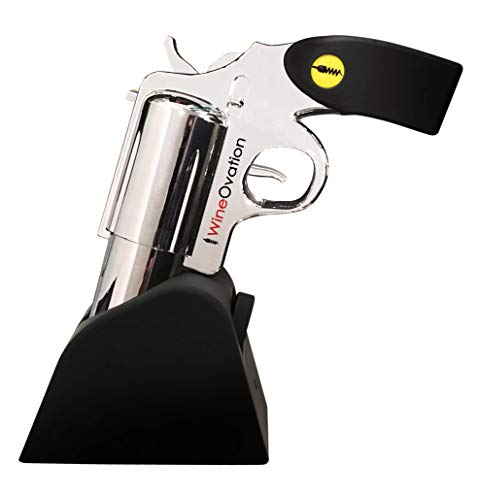 Great Gift for Gun Enthusiasts and Wine Lovers. Foil Cutter Included. - Open your Wine Bottle Fast with this New Corkscrew - WineOvation Electric Gun Wine Bottle Opener Simulated Chrome