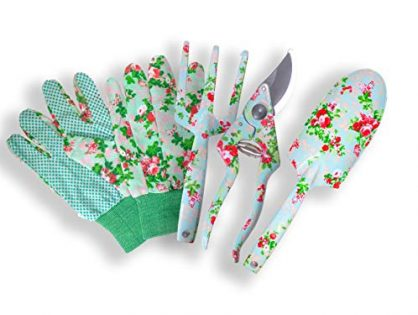Floral Gardening Tools for Women - Great Gardening Set for Outdoor and Indoor Gardening - Gardening Supplies Gardening Kit - Garden Tools Set 4 pcs - Garden Shears, Trowel, Hand Cultivator