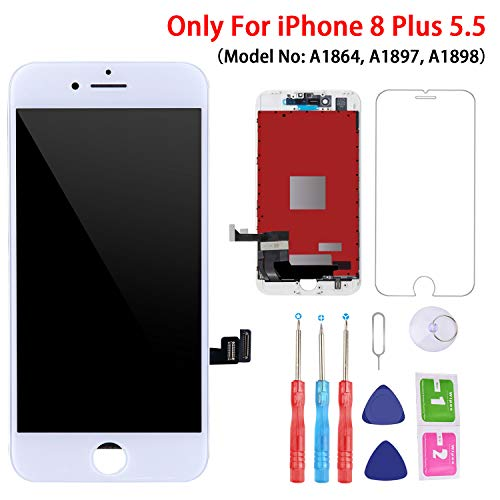 Screen Replacement White for iPhone 8 Plus 5.5 Inch White, 3D Touch LCD Screen Digitizer Replacement Frame Display Assembly Set with Repair Tool Kit