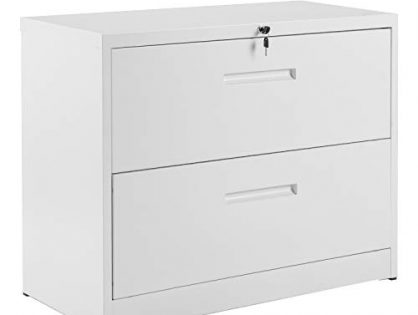 ModernLuxe File Cabinet,Home Office Lockable Heavy Duty Metal Lateral File Cabinet with 2 Drawers, White