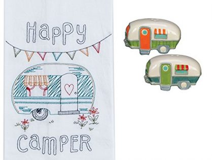 Happy Camper 3 Piece Kitchen Bundle, Towel with Salt and Pepper Shakers