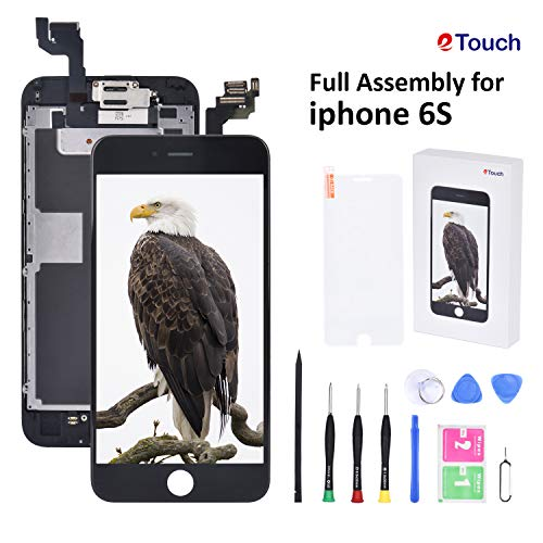for iPhone 6S Screen Replacement Black LCD Display Compatible,Full Assembly Touch Digitizer with Front Camera,Home Button,Sensor,Earpiece,Speaker, Full Repair Tools Kit+Screen Protector.