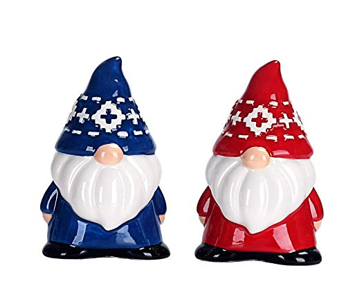 Bico Red & Blue Christmas Gnome Salt and Pepper Shaker Set, Handpainted, Dishwasher Safe