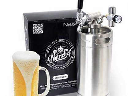 Stainless Steel Mini Keg Dispenser Portable Kegerator Kit - Co2 Pressure Regulator Keeps Carbonation for Craft Beer, Draft and Homebrew - PKBRTP100.5 128oz - NutriChef Pressurized Growler Tap System