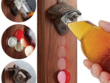 SHARPER IMAGE Cap Catching Magnetic Bottle Opener, Attach to Metal Surfaces or Wall with Hardware, Strong Magnet Catches Falling Caps, Man Cave DÈcor for Beer Lovers, Vintage Look, Wood and Cast Iron