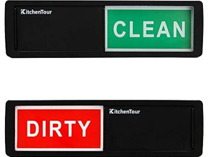 KitchenTour Clean Dirty Dishwasher Magnet - Upgrade Super Strong Magnet Version - Black - Easy to Read Non-Scratch Magnetic Indicator Sign with Clear, Bold & Colored Text