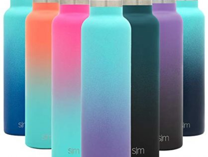 Simple Modern 24oz Ascent Water Bottle - Hydro Vacuum Insulated Tumbler Flask w/Handle Lid - Double Wall Stainless Steel Reusable - Leakproof Ombre: Tropical Seas