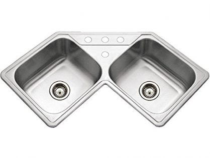 Houzer LCR-3221-1 Legend Series Topmount Stainless Steel Corner Bowl Kitchen Sink
